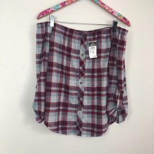 NWT Rue 21 off shoulder plaid top M // 1311